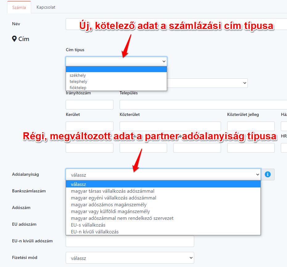 Partner adatlap változás NAV Online Számla adatszolgáltatás API V3.0